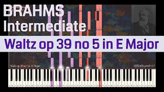 Johannes Brahms - Waltz op 39 no 5 in E Major | Synthesia Piano Tutorial | Library of Music