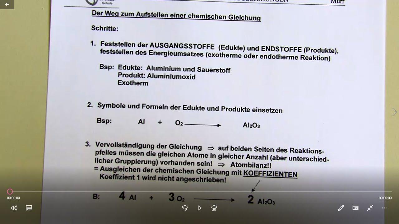 Aufstellen von Reaktionsgleichungen - AB01 - YouTube