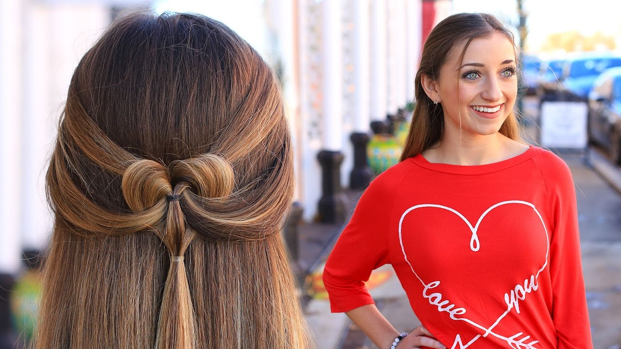 how to create a pancaked heart half-up hairstyle | valentine's day hairstyles