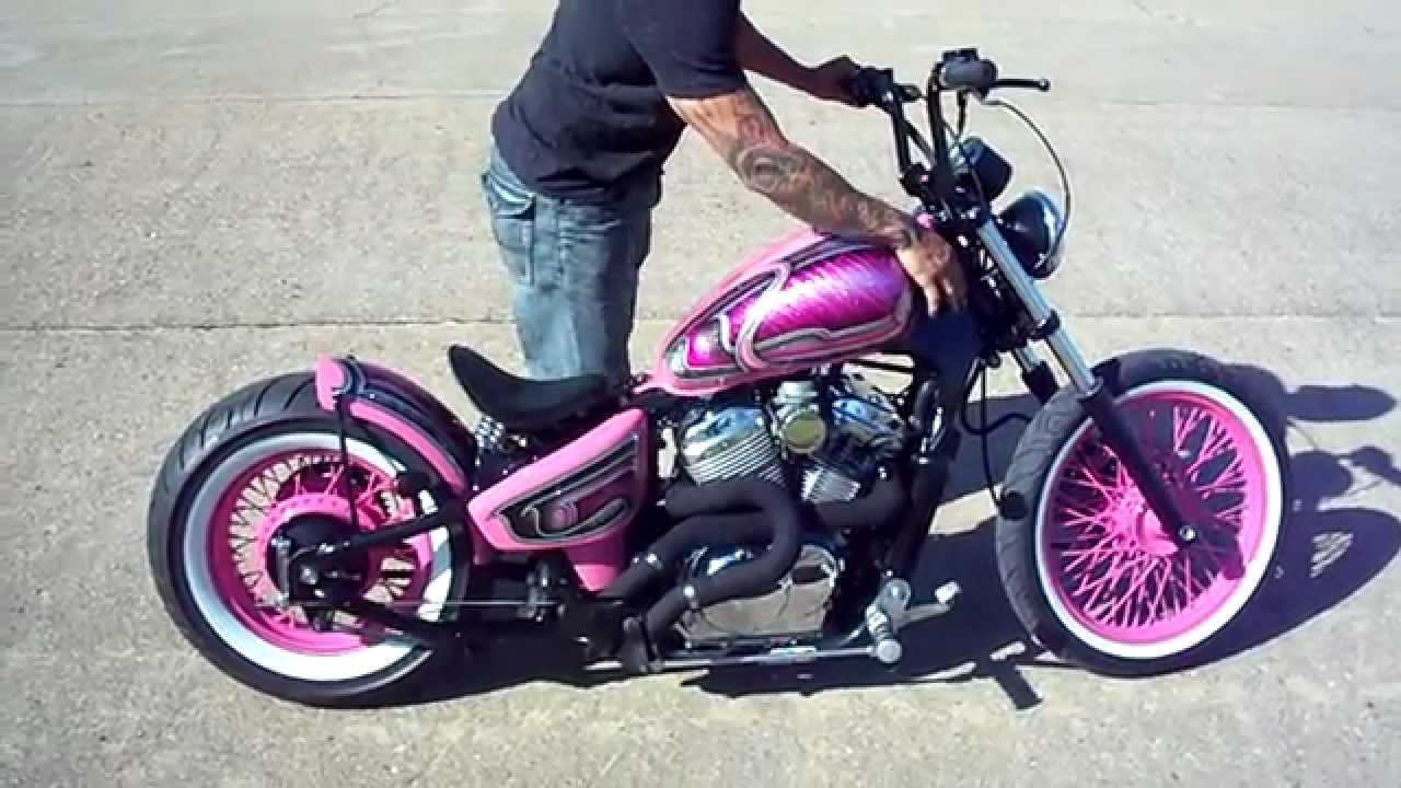 Yamaha Spray Paint >> HoustonRetro Bobbers Pinky Air ride Bobber!!! walk around - YouTube