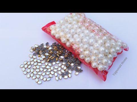 How To Make Designer Earrings At Home | DIY | Pearl Earrings stud | Jewelry Making | uppunutihome