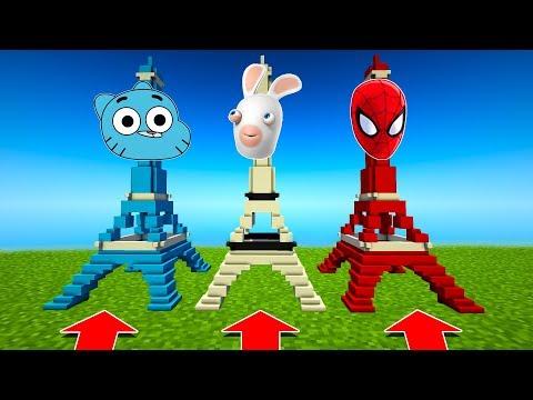 NE CHOISISSEZ PAS LA MAUVAISE TOUR EIFFEL MINECRAFT !! Gumball, lapin crétin, spiderman thumbnail