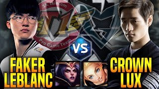 SKT T1 Faker Leblanc vs SSG Crown Lux - Faker is Ready to Beat Crown in New Season! | SKT T1 Replays