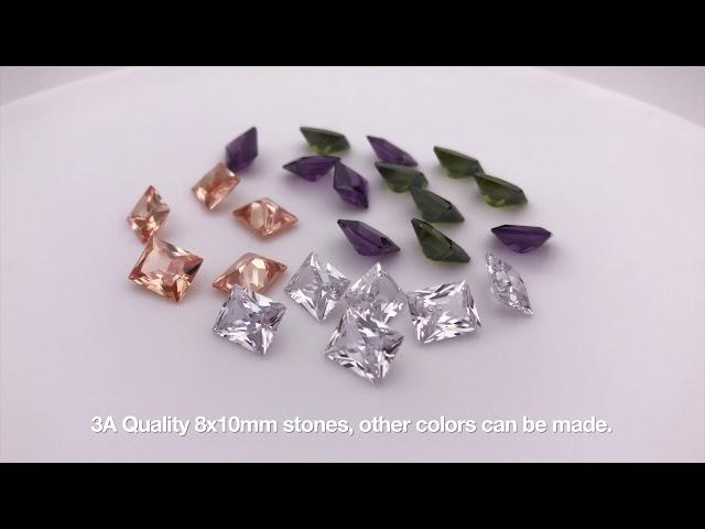 Rectangle Baguette Princess Cut Cubic Zirconia Color Gemstones wholesale and Suppliers