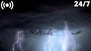 Lightning & Thunderstorm Sounds in the Mountains | Rumbling Thunder & Rain Sounds for Sleeping
