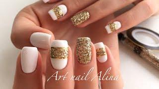 Мой Идеальный Белый Гель-Лак! Модный Дизайн с Блестками и Лентой!