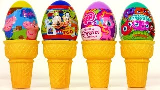 ice cream surprise eggs moshi monster mickey mouse clubhouse my little pony peppa pig minecraft