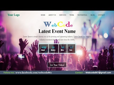 Event Management Single Page Website Template Made With HTML And CSS