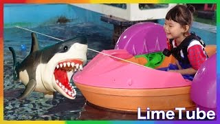 상어밥주기? 라임탐험대 3편 물고기를 잡아라! 제주도 상어가족 shark attack サメの攻撃 LimeTube & Toy 라임튜브