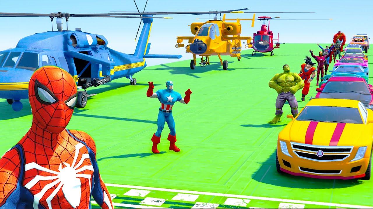 SpiderMan Crash Test Сhallenge with Superheroes and Cars - GTA V