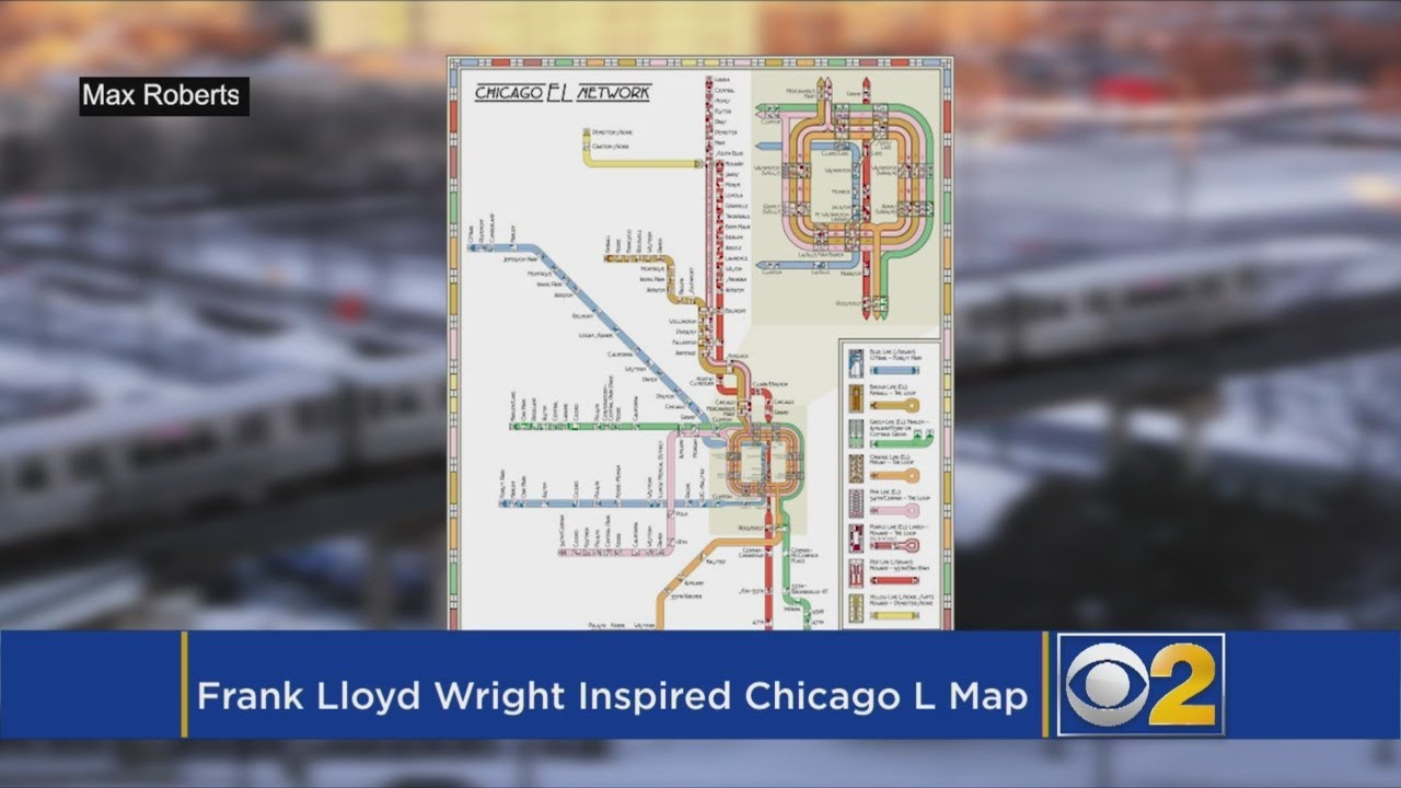 Frank Lloyd Wright Chicago Map.Cta S L Map In Frank Lloyd Wright Style Wins Design Award Youtube