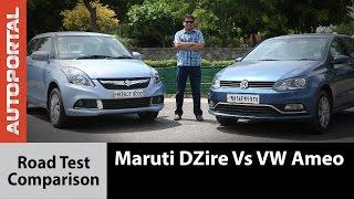 Maruti DZire Vs Volkswagen Ameo Test Drive Comparison Review - Autoportal
