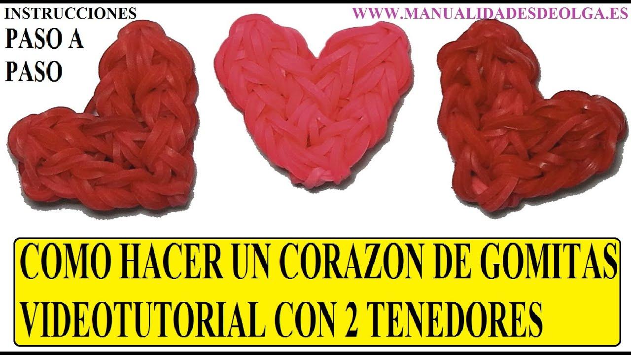 2db720b746f1 COMO HACER UN CORAZÓN DE GOMITAS CON DOS TENEDORES TUTORIAL DIY SIN TELAR  RAINBOW LOOM