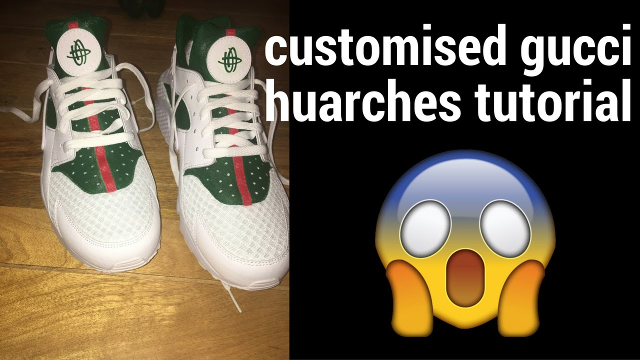 cd8a0943a9a3 HOW TO  GUCCI CUSTOM HUARACHE TUTOTIAL TIME LAPSE! - YouTube
