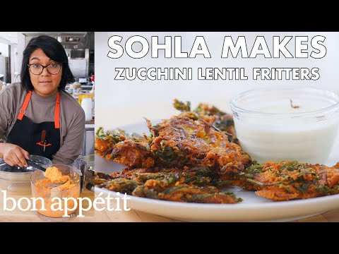 Sohla Makes Red Lentil Zucchini Fritters | From the Test Kitchen | Bon Apptit