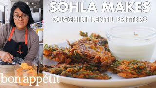 Sohla Makes Red Lentil Zucchini Fritters  From the Test Kitchen  Bon Appétit