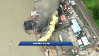 Barge Burns on the Fraser