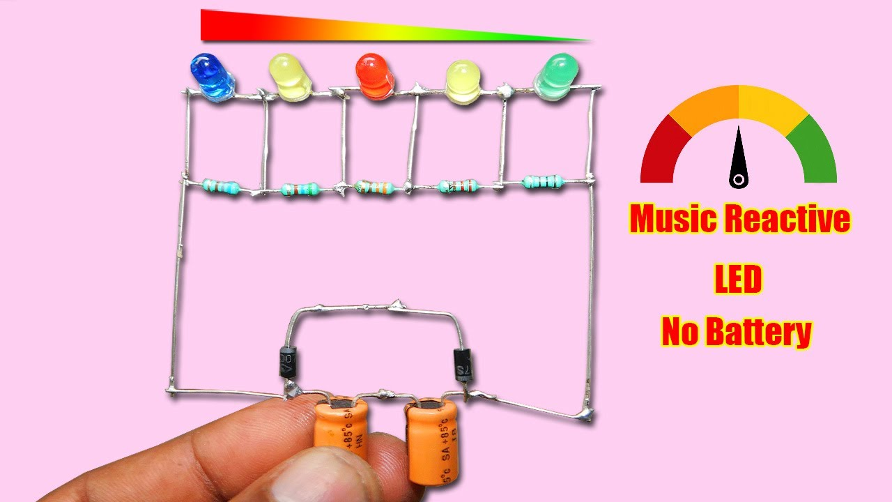Very Simple Music Reactive LED Circuit | No Battery | No IC & Transistor Using