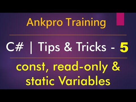 C# tips and tricks 5 - Difference between const, readonly and static variables