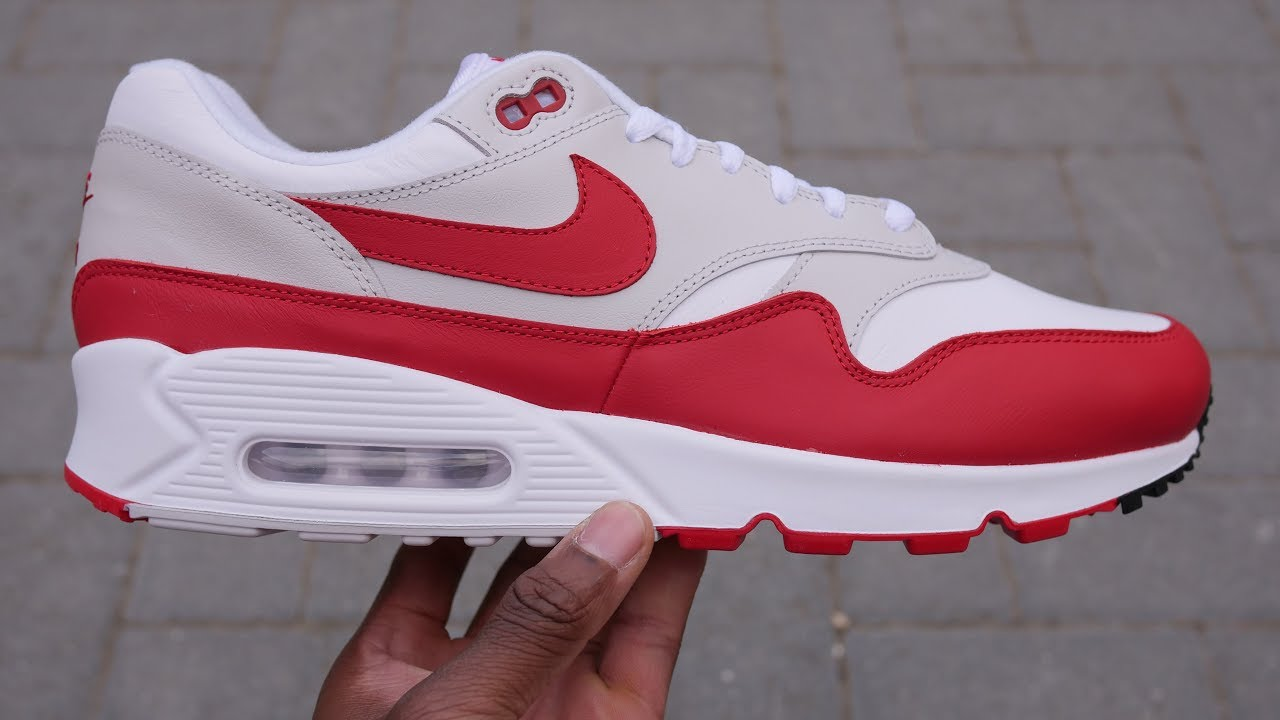 d5b4d38b117 Air Max 90 1 Quick Look   On Feet (White + University Red) - YouTube