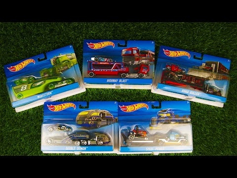Hot Wheels Cars Collection 5 Trailer(Double Demon,Wingstorm,Steel Power,Highway Blast,Road Roller)