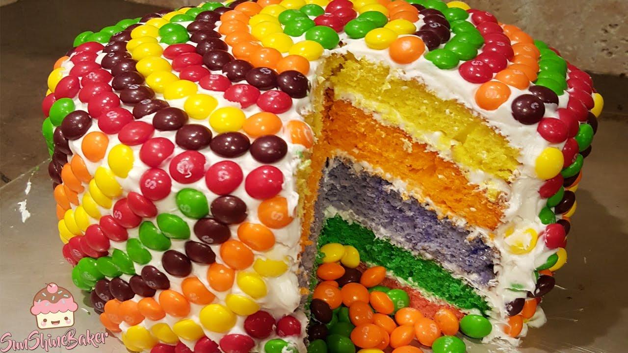 Skittle Rainbow Cake Recipe