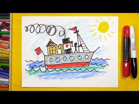 Как нарисовать Пароход. Урок рисования для детей от 3 лет | Раскраска для детей
