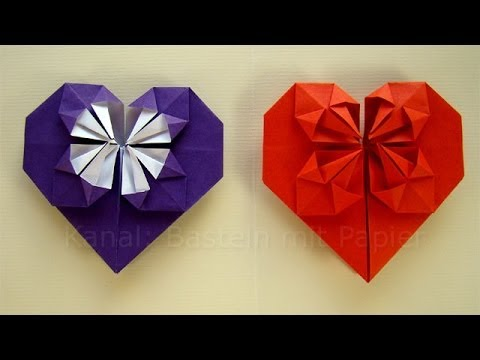 origami herz falten basteln mit papier diy geschenkideen geburtstag valentinstag selber. Black Bedroom Furniture Sets. Home Design Ideas