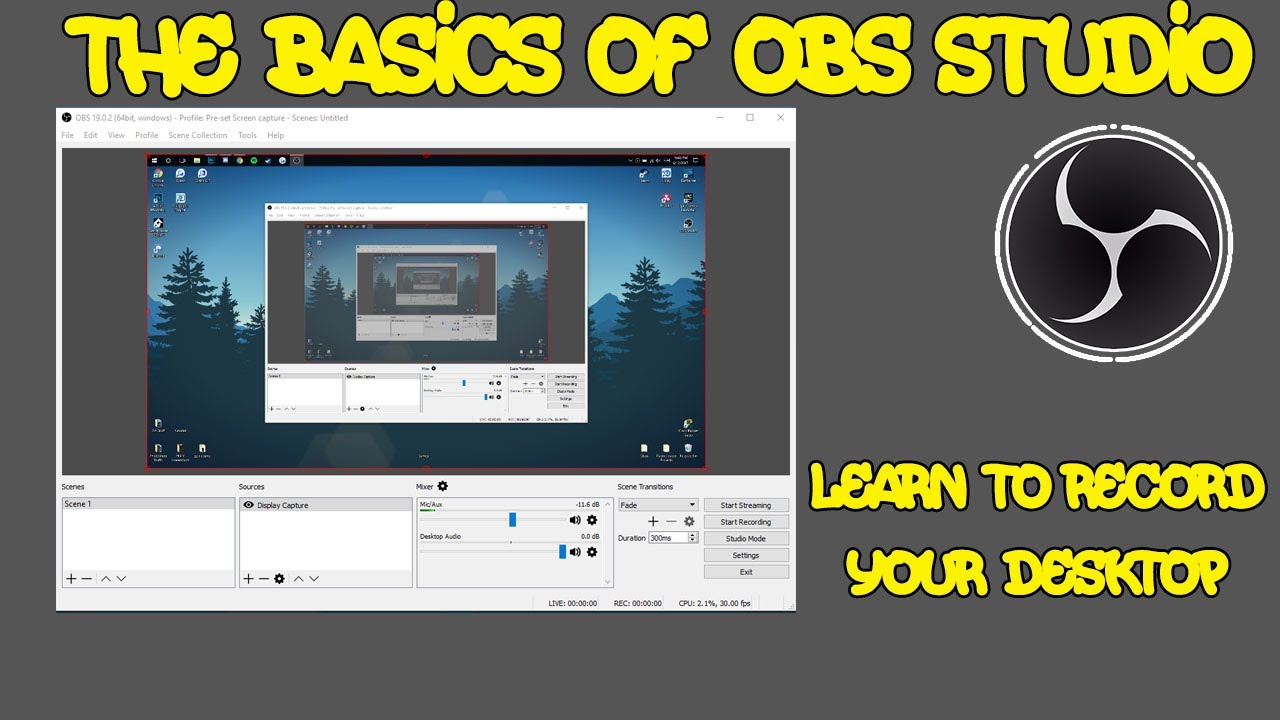 how to get obs to record desktop