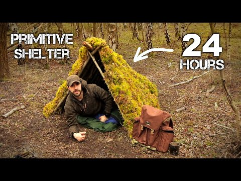 24 HOURS: Sleeping in Primitive Survival Shelter with Moss Roof | Surviving on Military MRE Rations