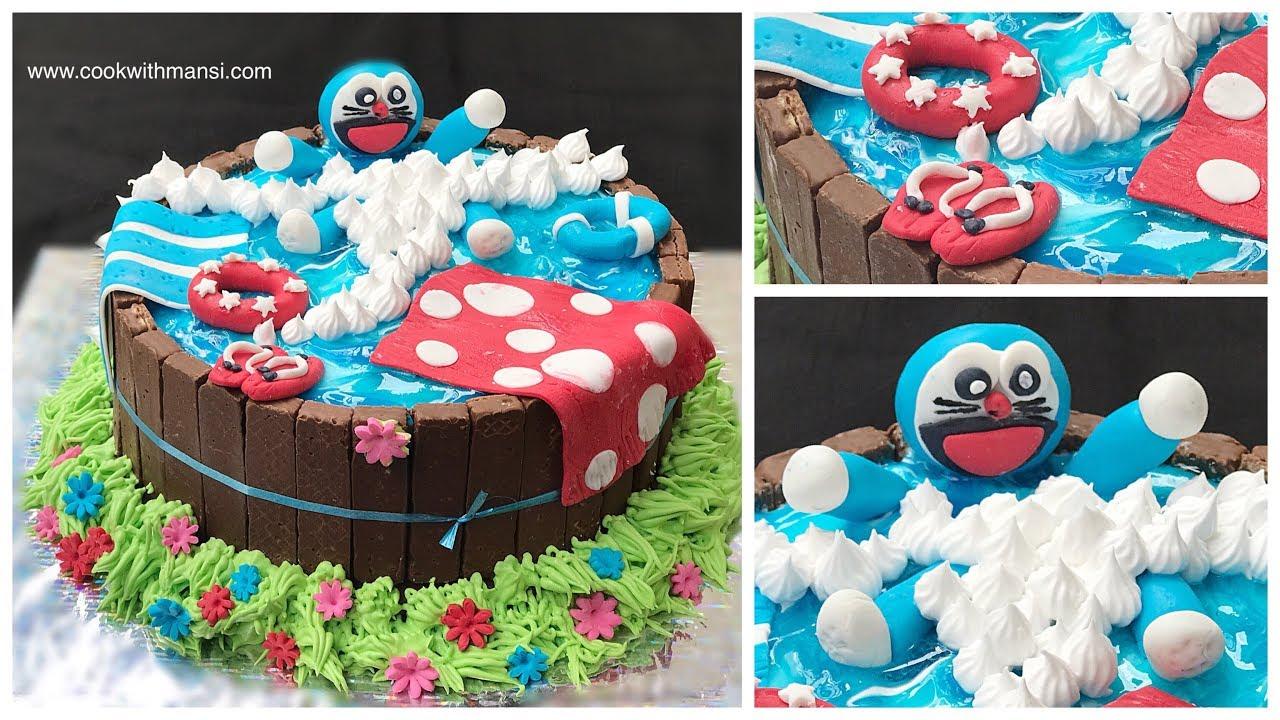 Birthday Cake Doraemon Cake Recipe How To Make Swimming Pool