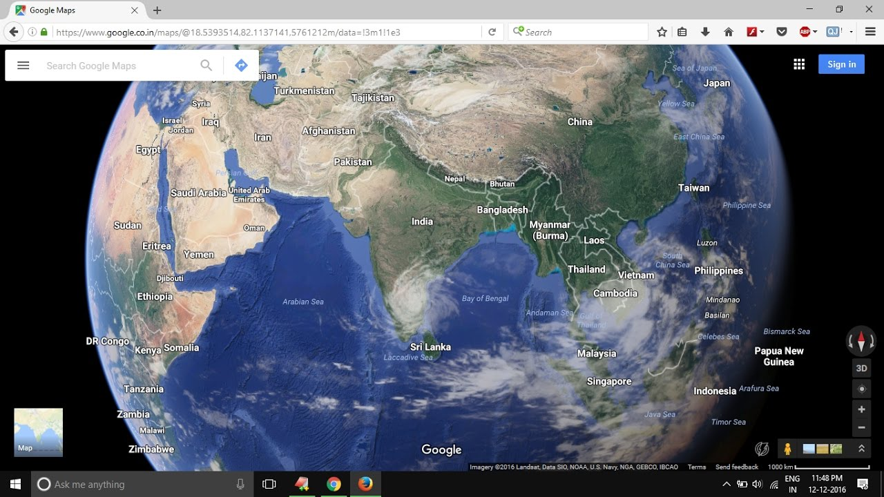 Satellite View Of Cyclone Vardah From Google Earth YouTube - Google earth satellite map