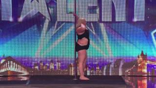 ▶Fat Lady on pole dancing masterclass - Britain