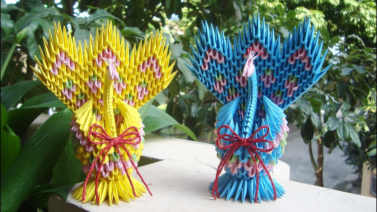3D Origami Peacock with 19 Tails 1578 Pieces Version 2 - YouTube | 720x1280