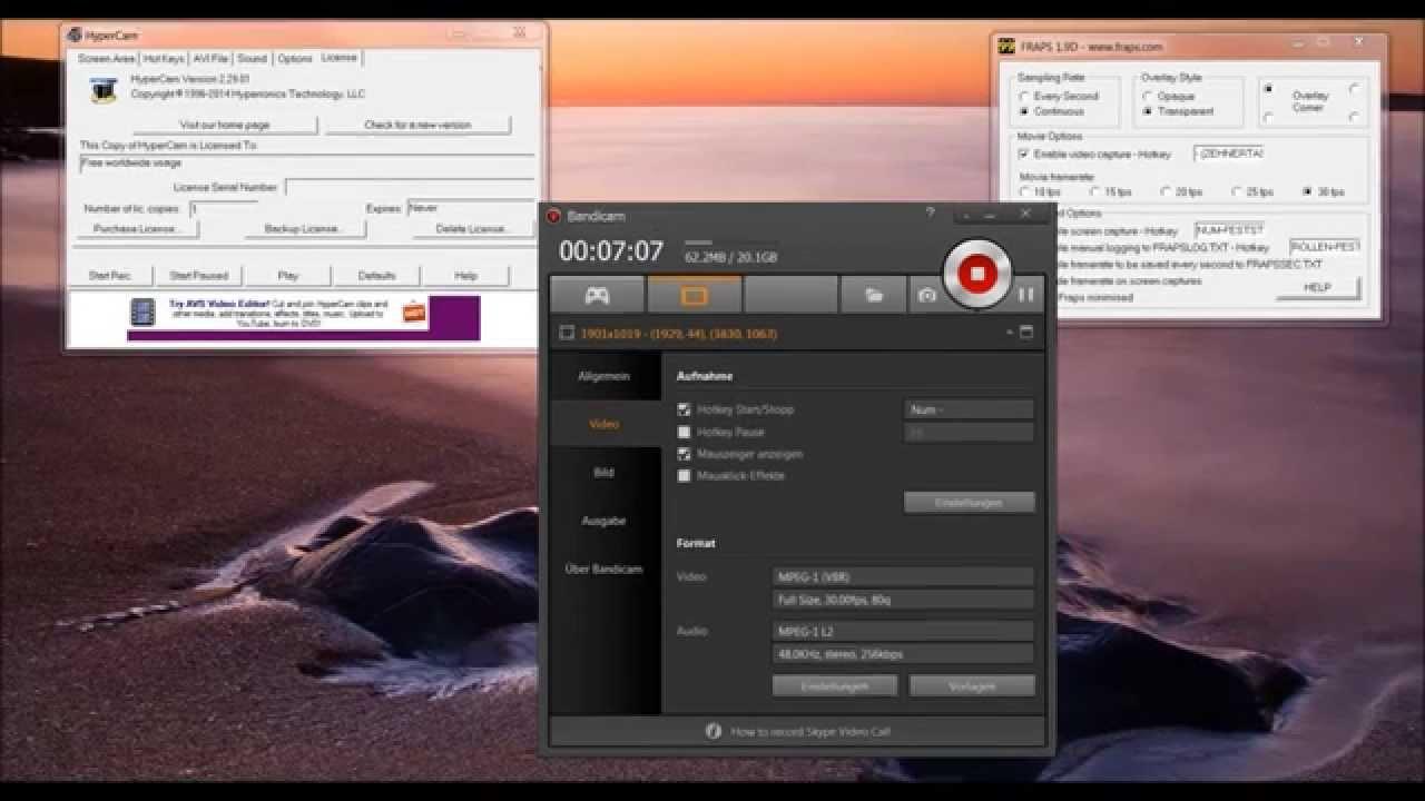 Bild Und Ton Vom Bildschirm Aufnehmen Free Desktop Und Spiele Filmen Mit Sound Tutorial 01 Youtube