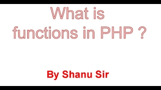 PHP Function Introduction