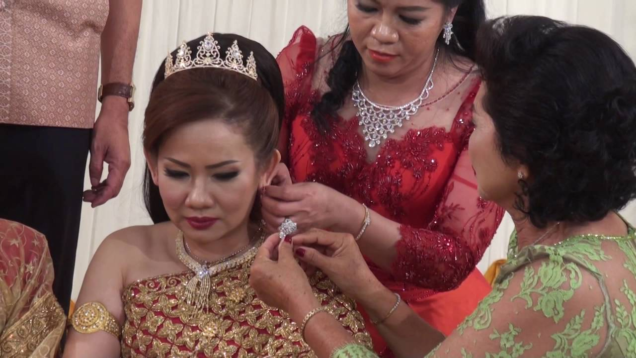 Cambodian Wedding Groom And Bride Give Gifts Blessing From Their Families Relatives