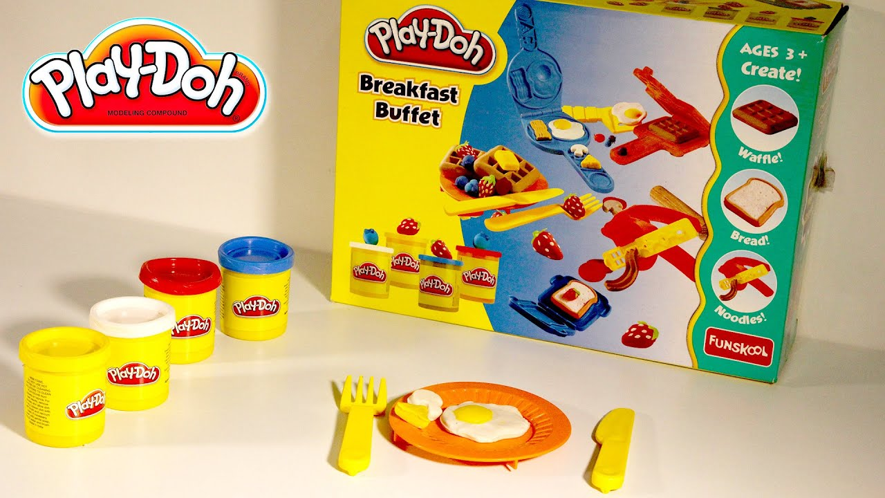 play doh breakfast buffet children toys clay modeling how to make play doh food youtube. Black Bedroom Furniture Sets. Home Design Ideas