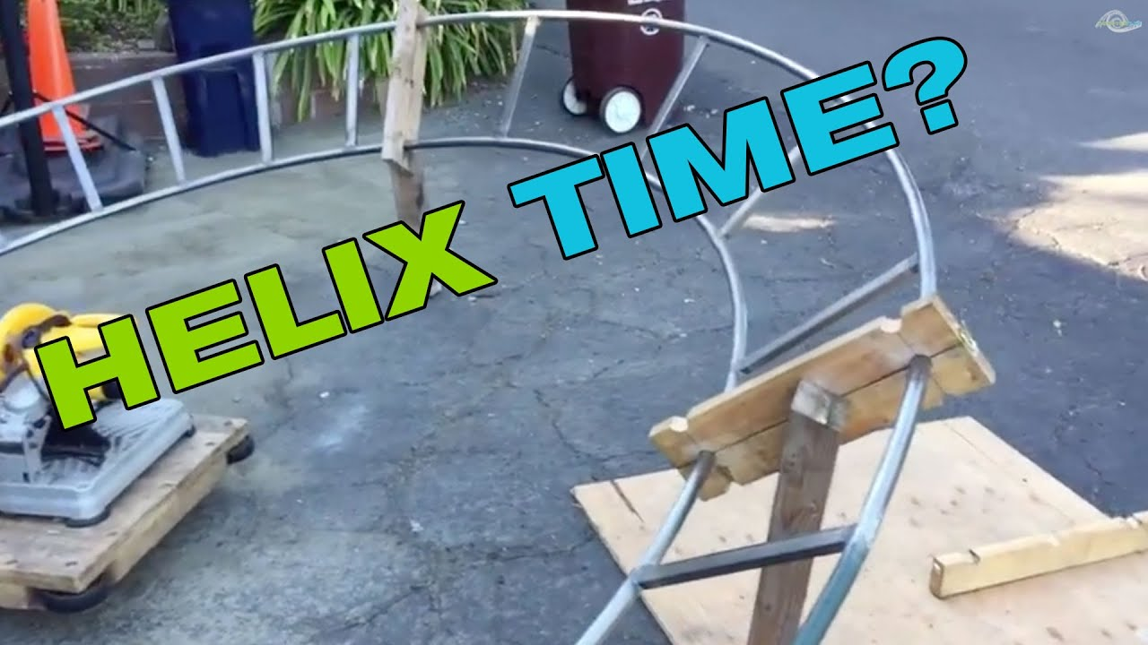 backyard roller coaster steel helix turn youtube