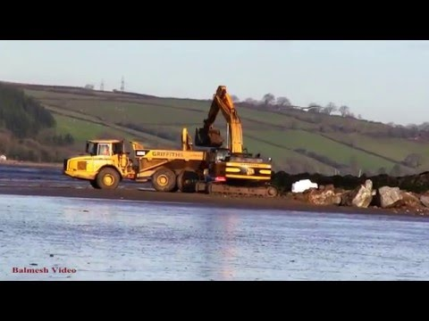 Ferryside Sea Defence Works - Diggers Loading Dump Trucks.