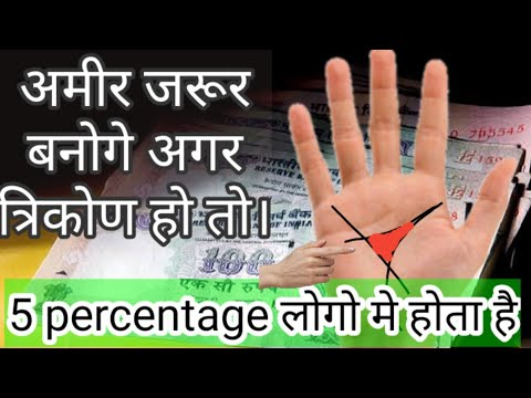 Hast rekha -त्रिकोण बनाए धनवान triangle in palmistry from YouTube · Duration:  4 minutes 45 seconds