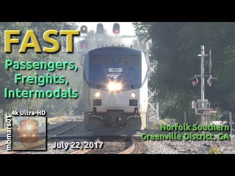 [5O][4k] Fast Passengers, Freights, and Intermodals, NS Greenville District, GA 07/22/2017 ©mbmars01