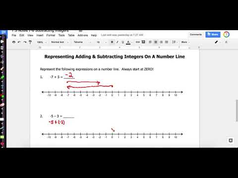 Notes 8 Adding and Subtracting On A Number Line