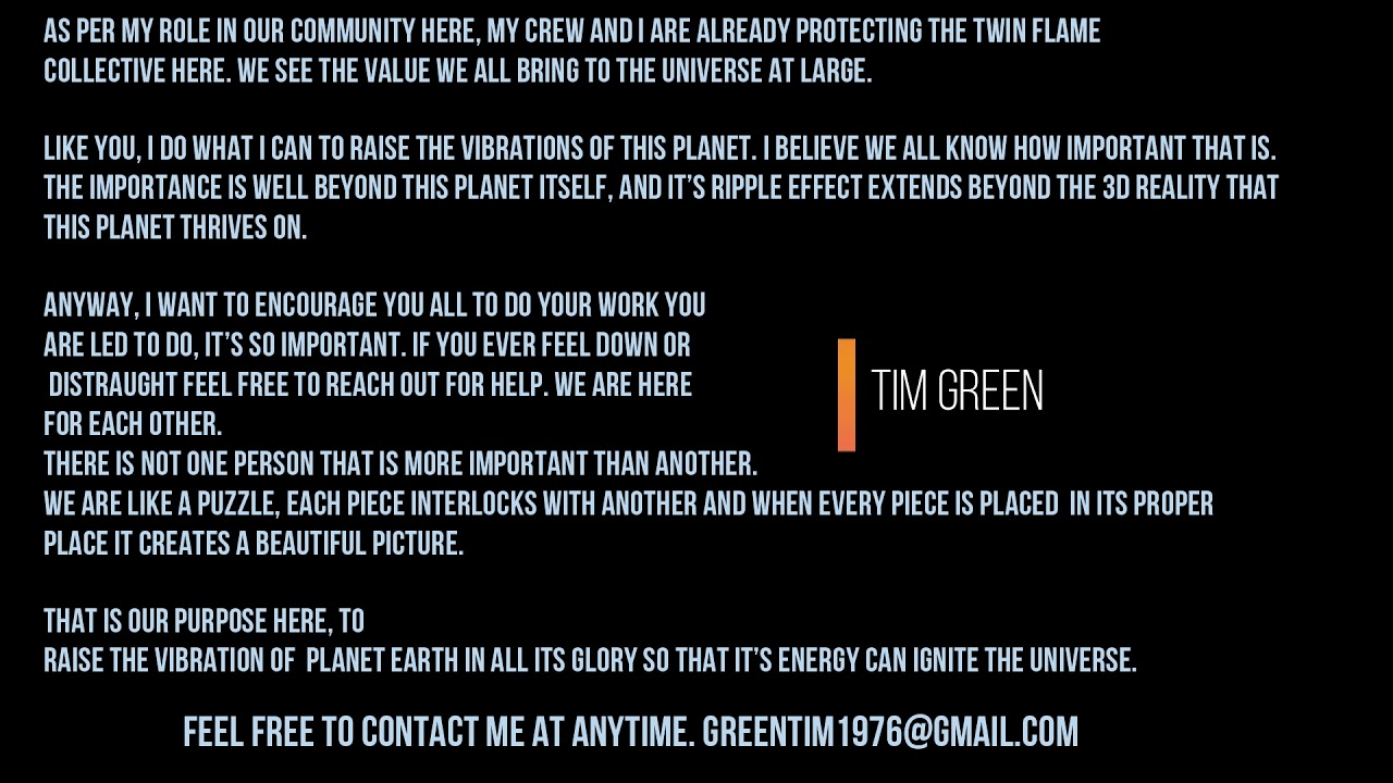 *TIM GREEN* (IMPORTANT TWIN FLAME MESSAGE)