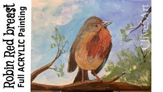 Christmas Robin Acrylic Painting Complete Lesson