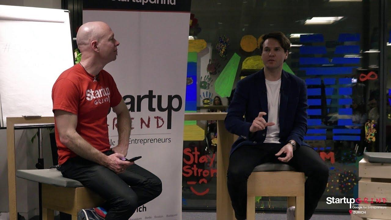 Eric Laudet (Batmaid) at Startup Grind Zurich, w/ David Butler
