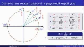 Радианная мера угла. Тригонометрия (01 - 02)