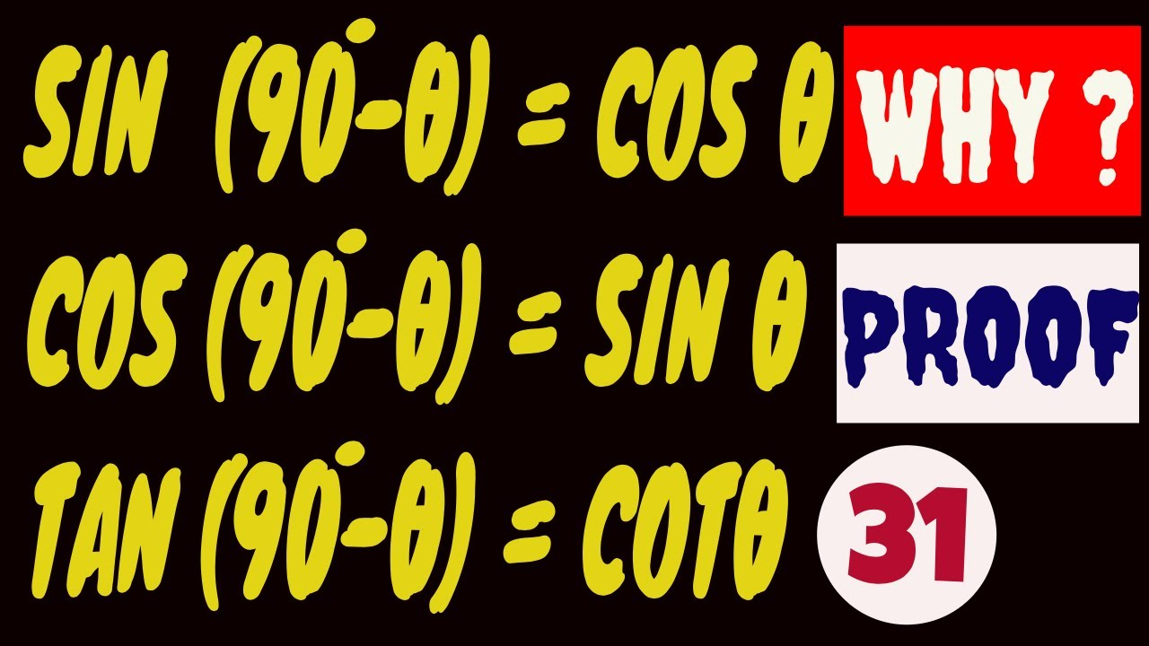 Trigonometric Ratios For Alllied Angles Sin 90 X Cosx Cos 90 X Sinx Tan 90 X Cotx Youtube