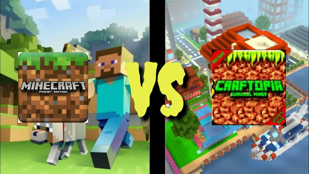 "Download "" MINECRAFT POCKET EDITION VS CRAFTOPIA "" (Minecraft PE ,Craftopia,Mobile Games,Android)"