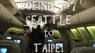 eva air 747 upper deck seattle to taipei economy class flight review